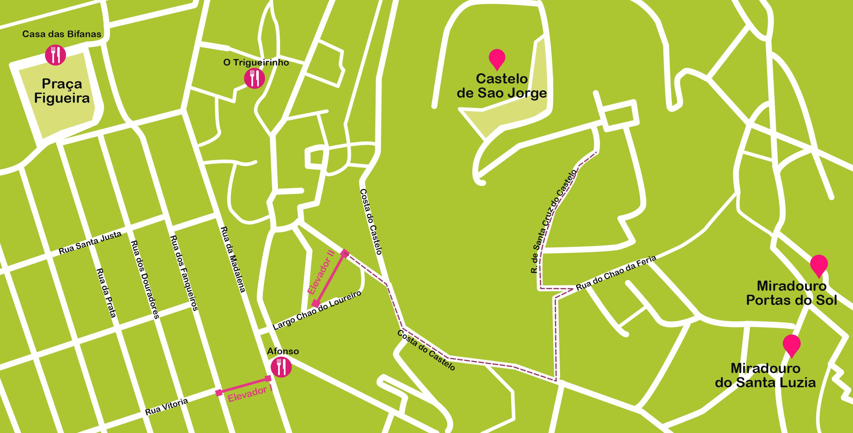 Mapa de Lisboa. Castelo de Sao Jorge