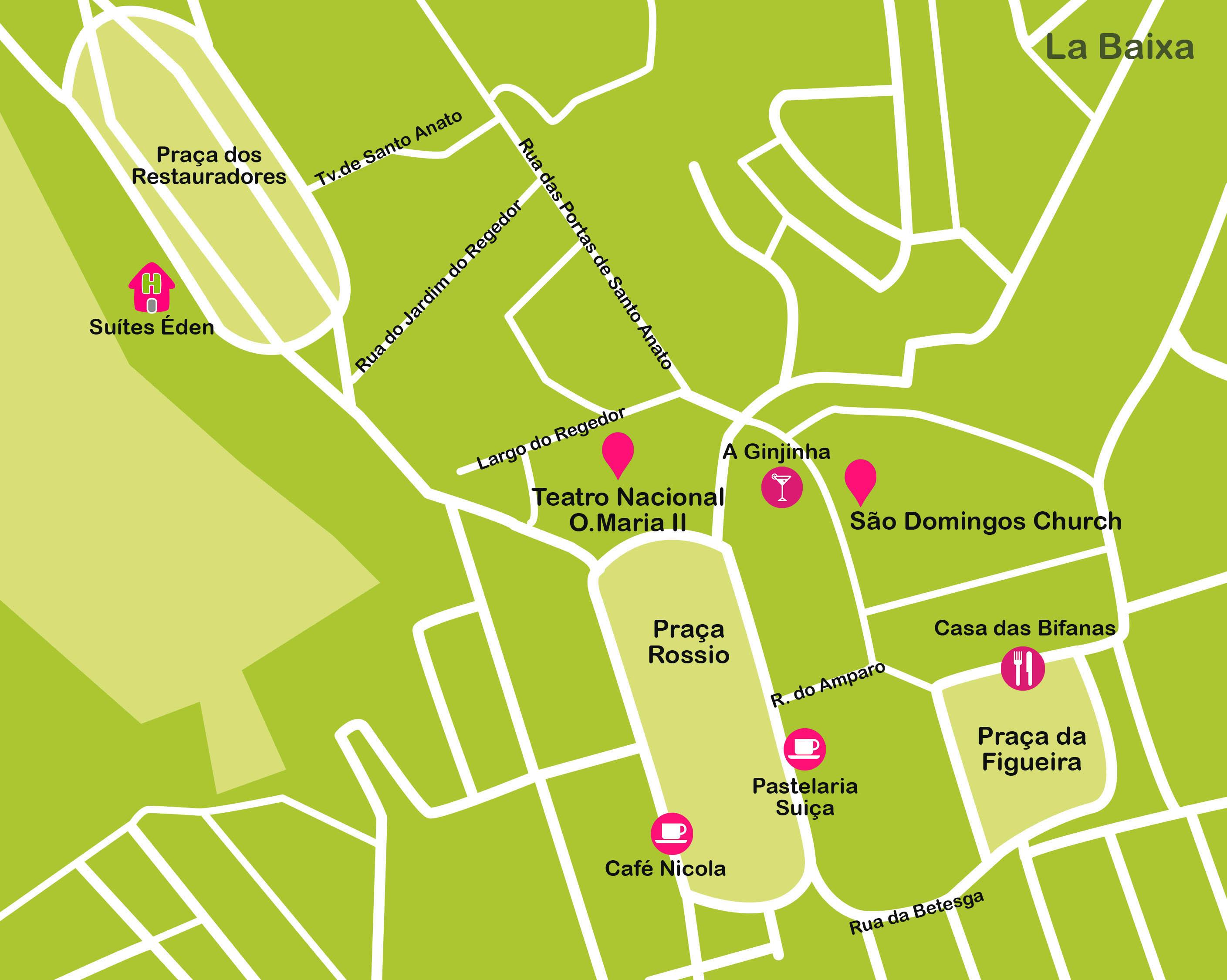 Mapa de Lisboa. La Baixa