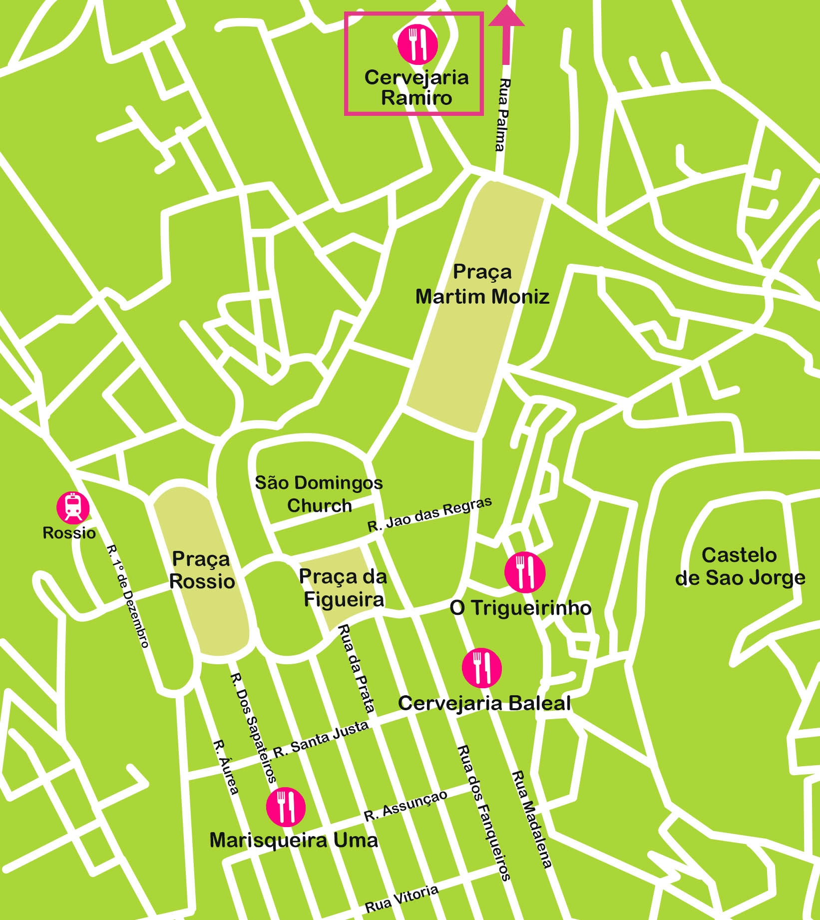 Mapa de Lisboa. Comer en la Baixa