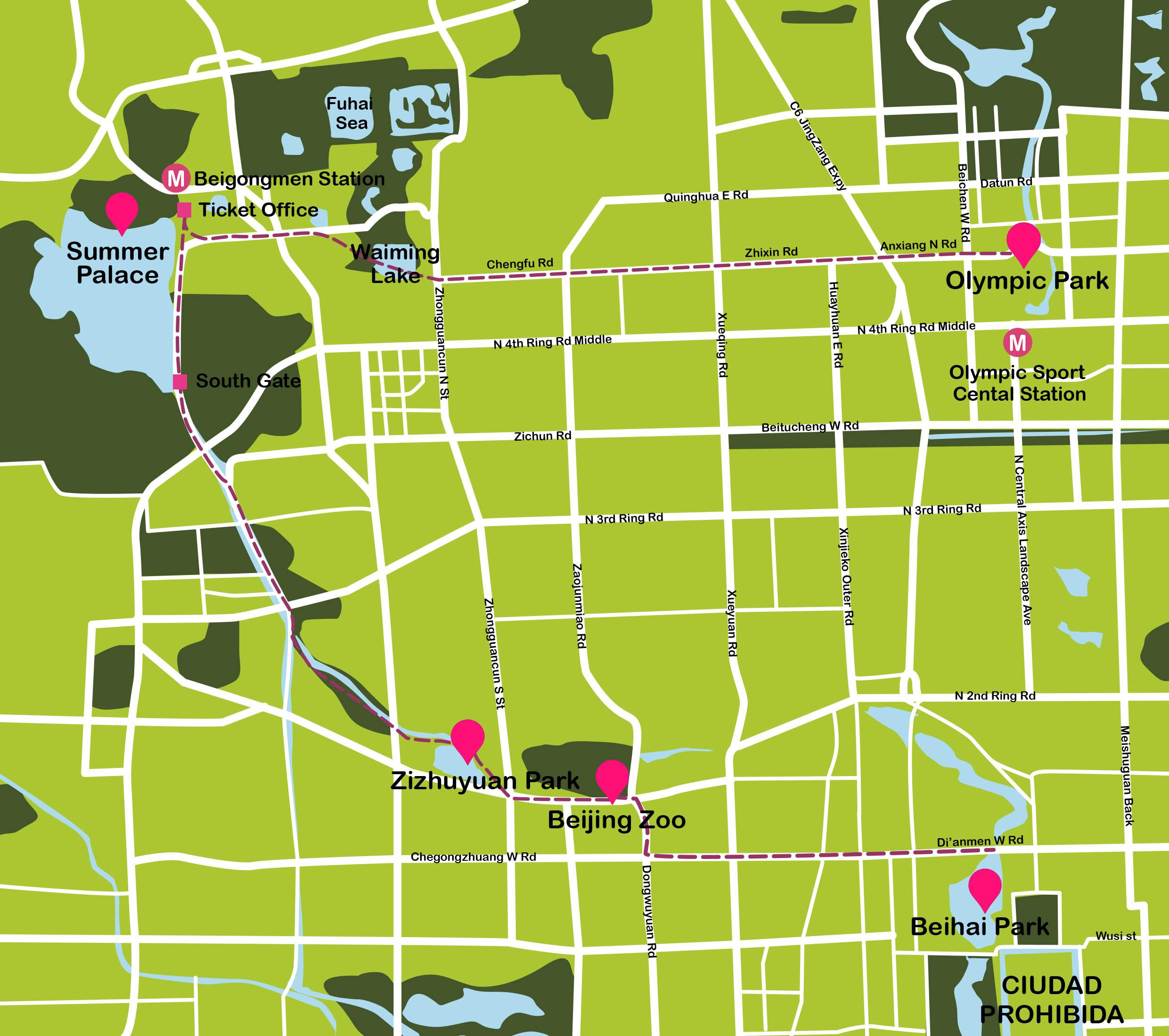 Mapa de Pekín. Summer Palace:Ruta en bicicleta #onlyes