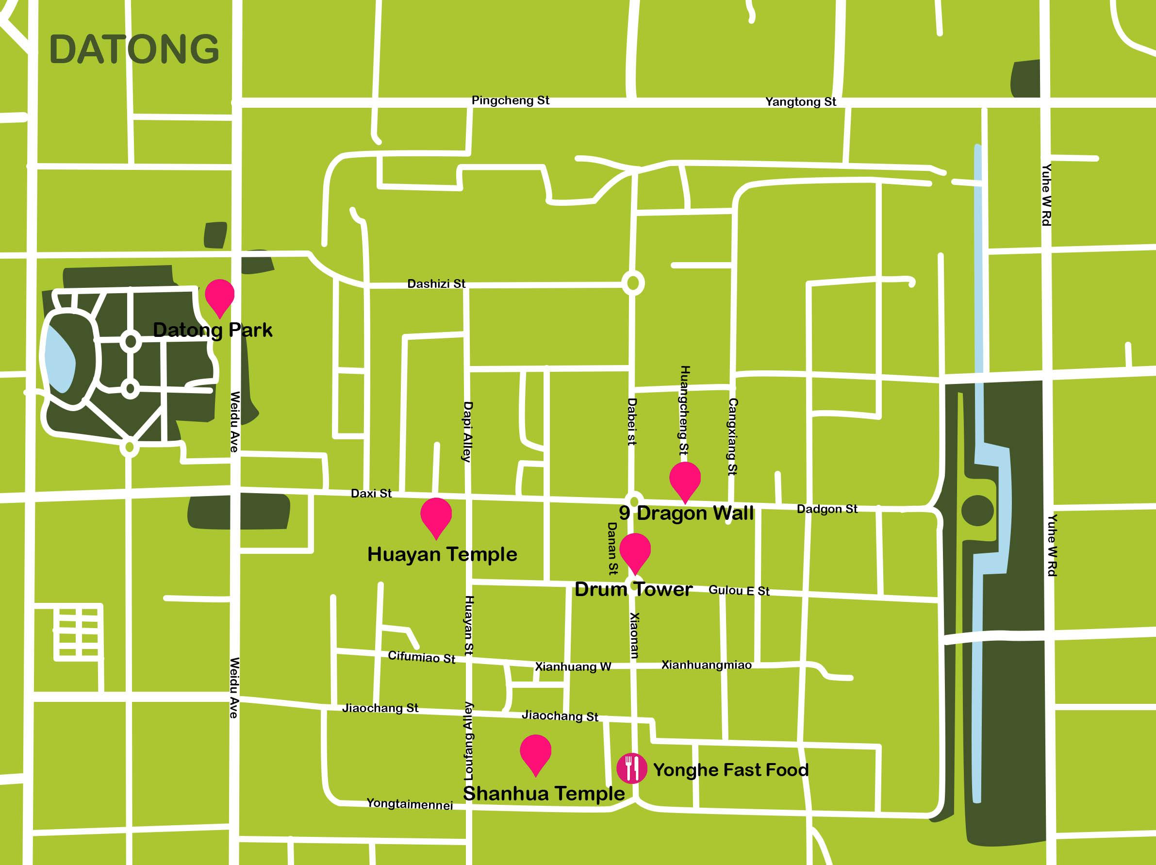 Mapa de China. Datong