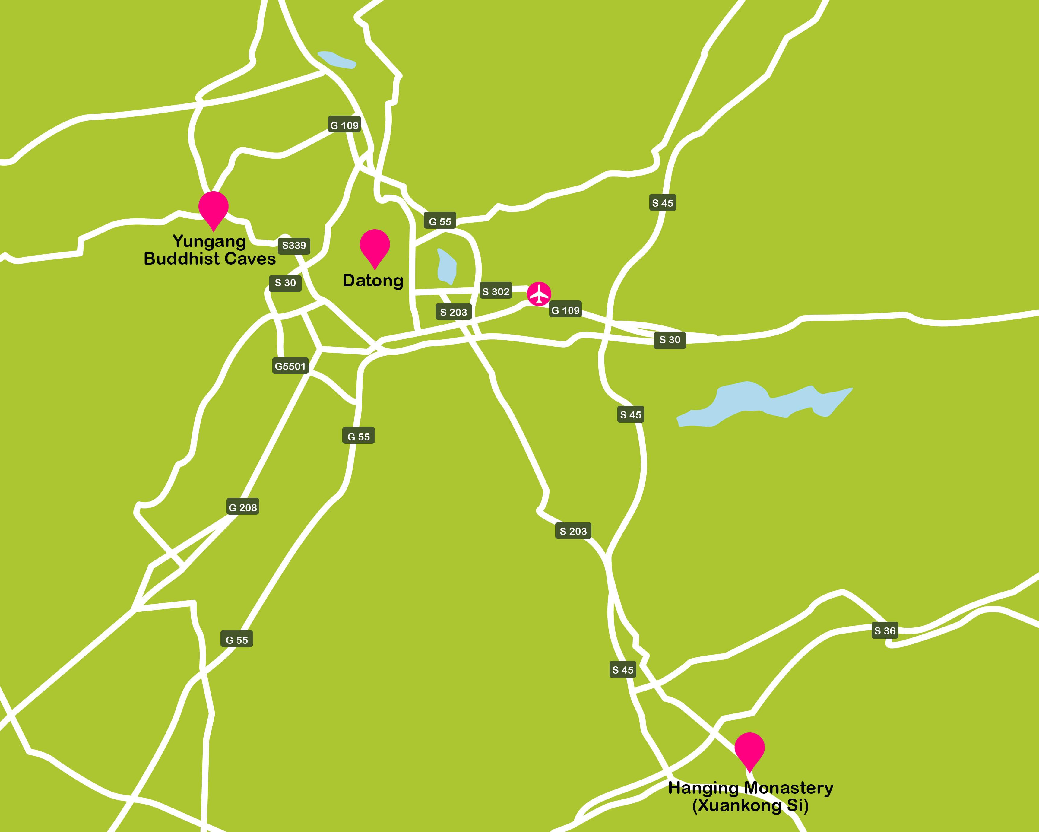 Mapa de China. Mapa general de Datong (aeropuerto)