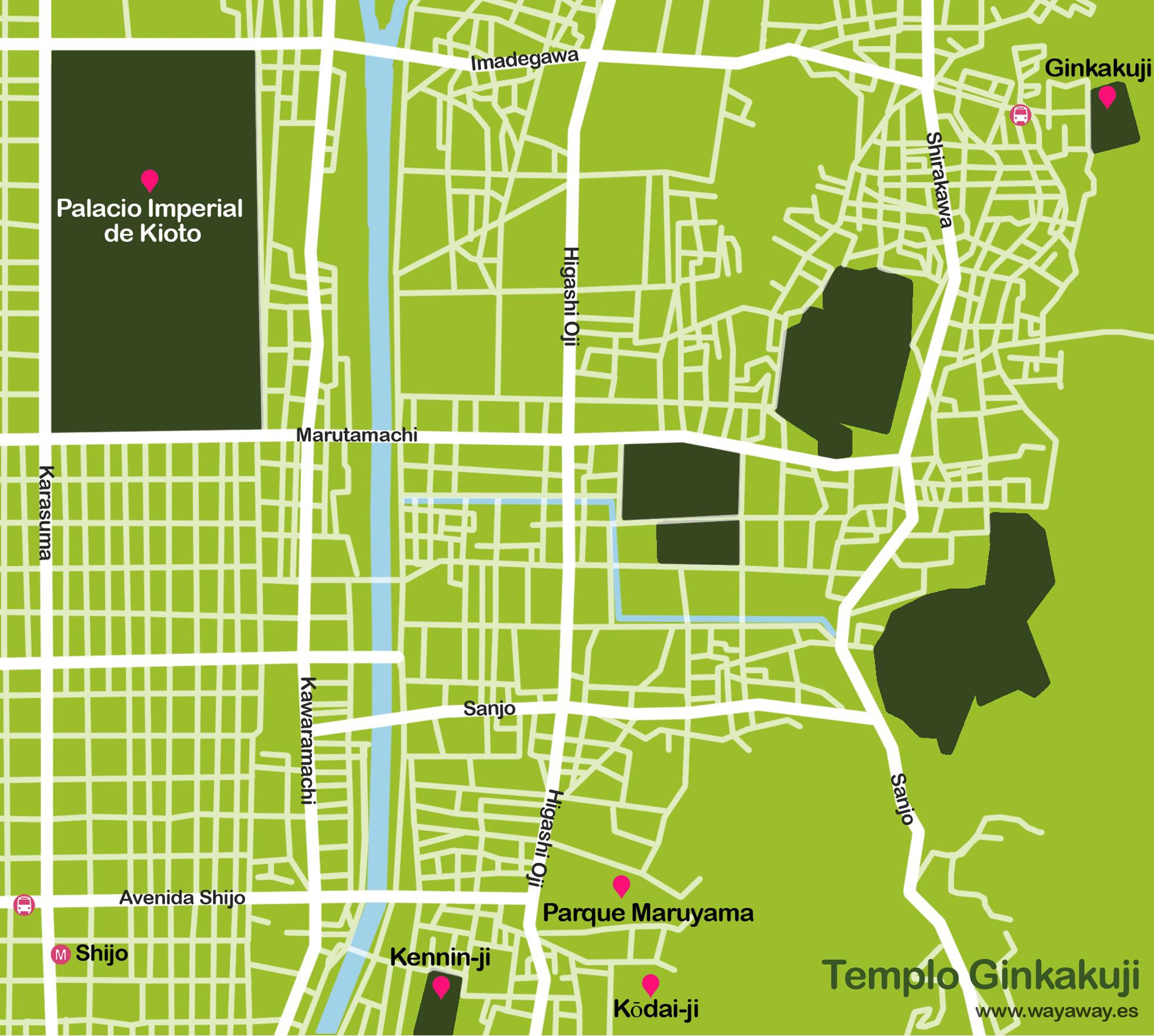 Mapa de Kioto: templo Ginkakuji #onlyes