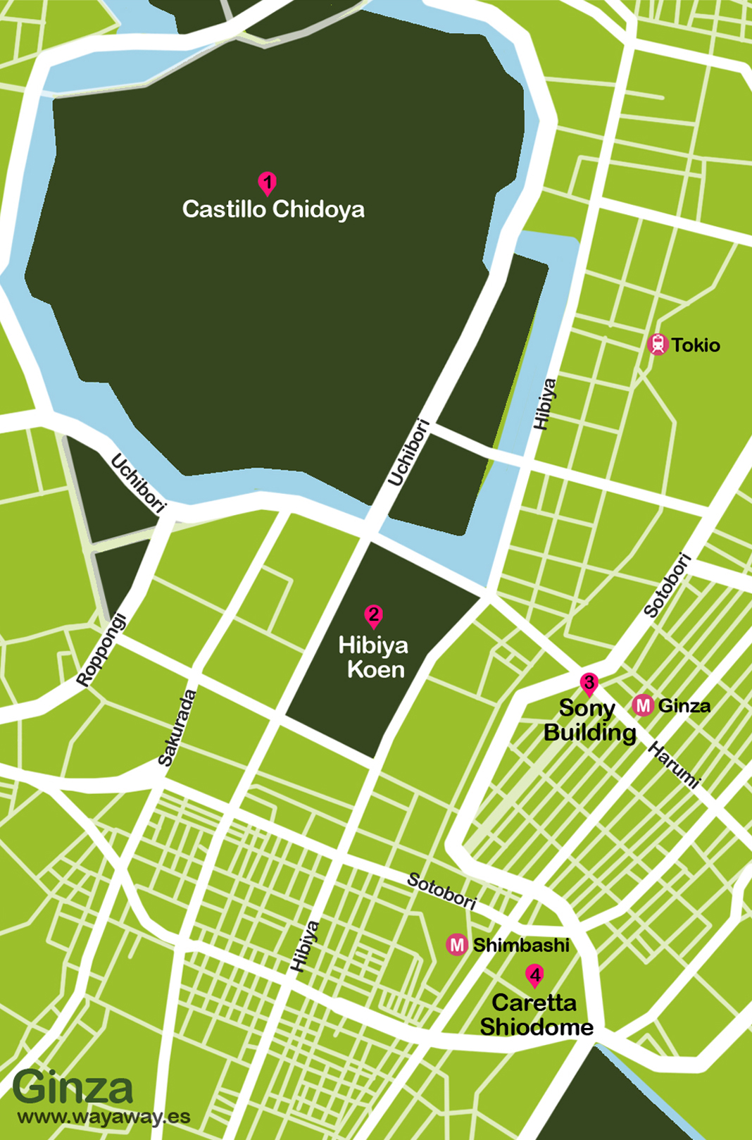 Mapa de Tokio: Ginza #onlyes