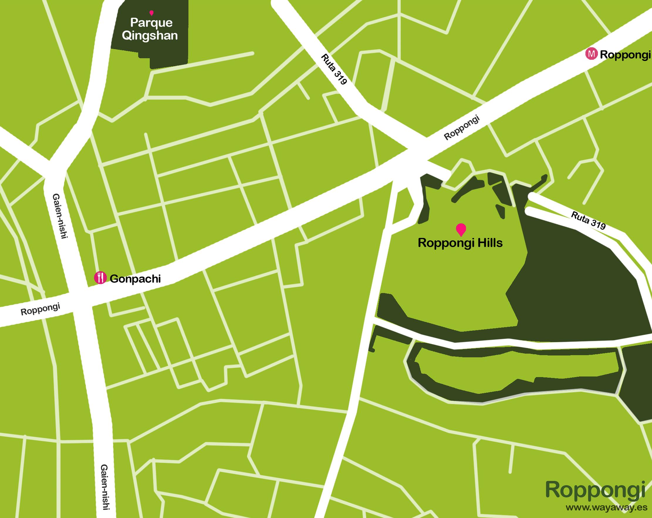 Mapa de Tokio: Roppongi #onlyes