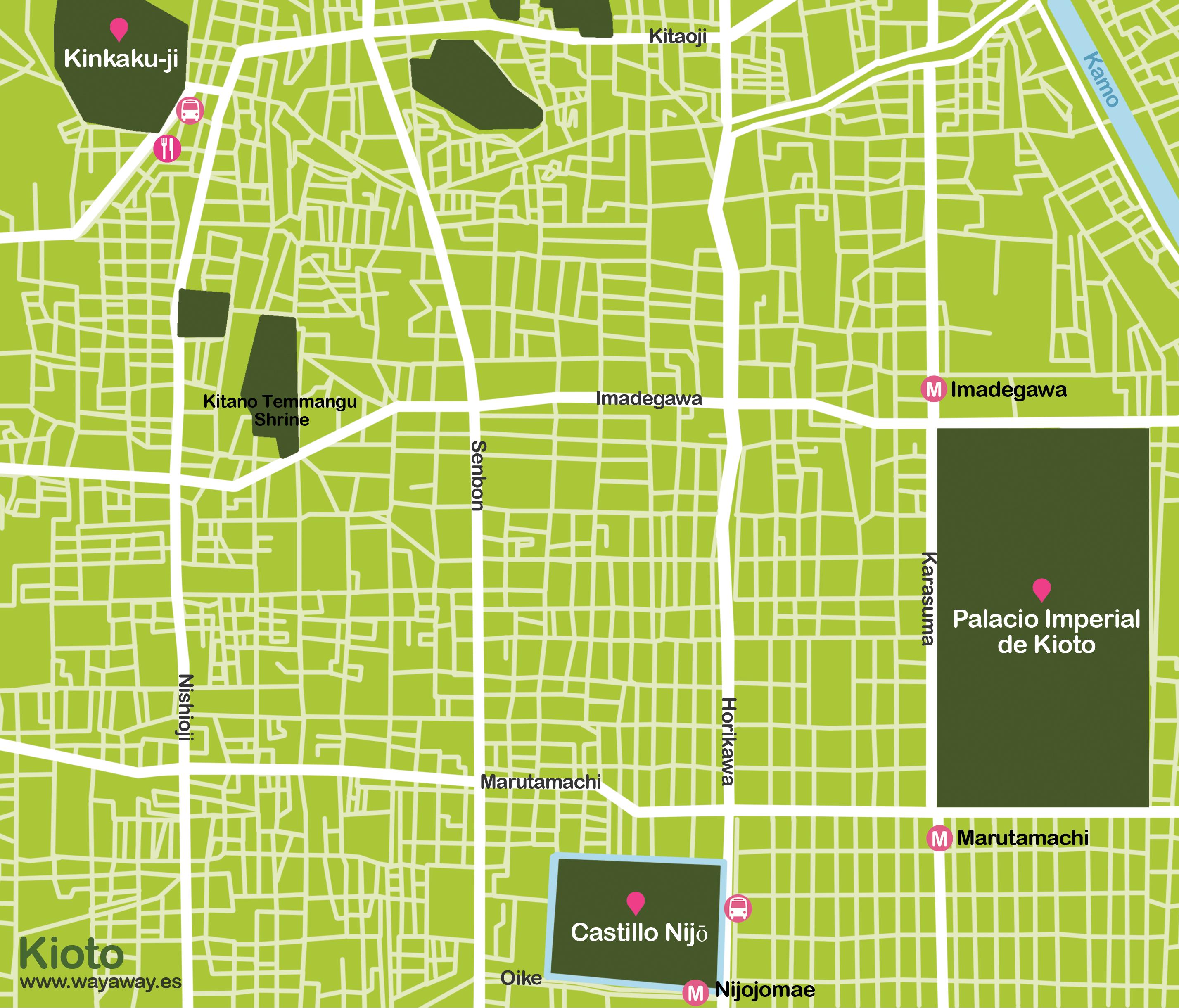 Mapa de Kioto: templos #onlyes