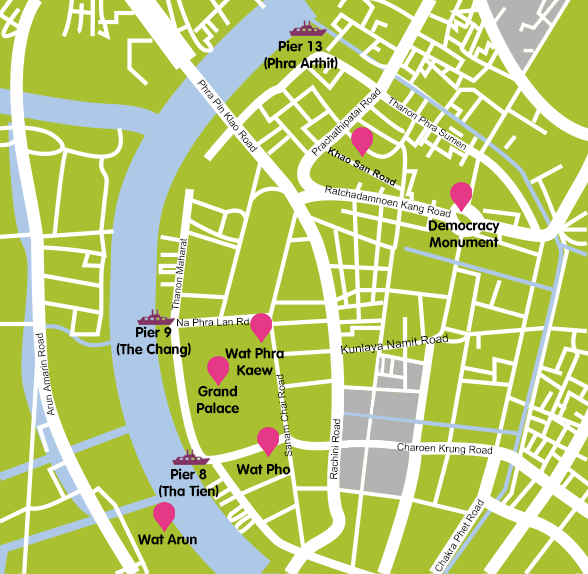 Mapa_3. Bangkok_Templos