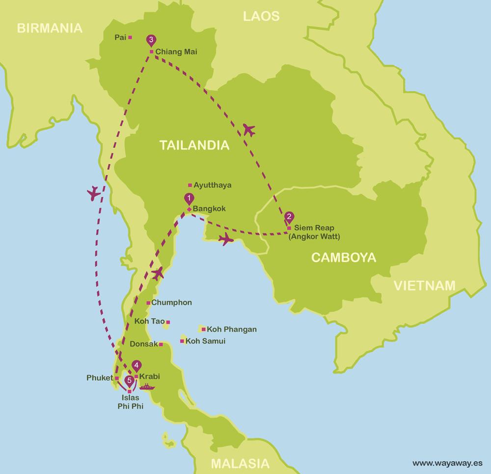 viajar a Tailandia y Camboya en 16 días