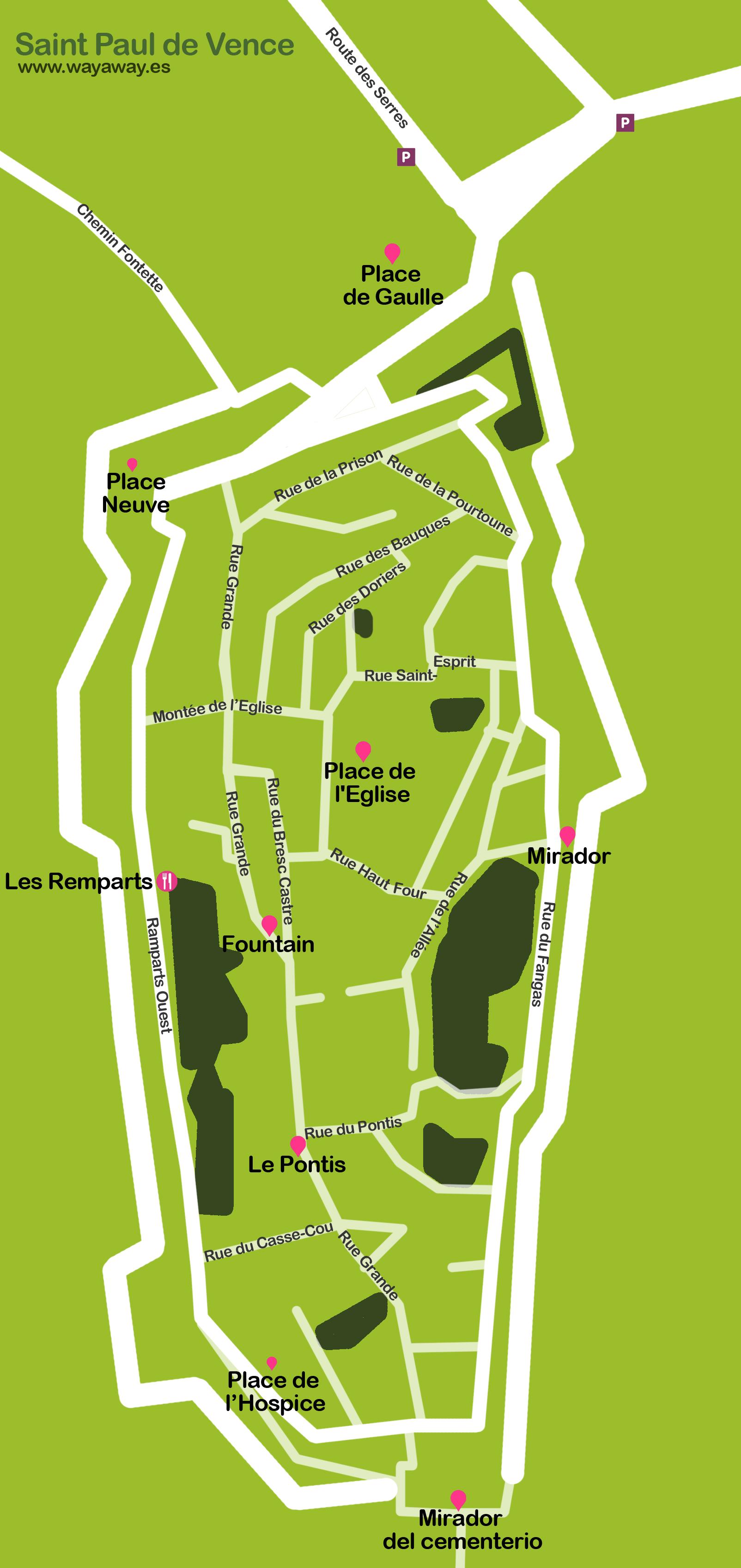 Saint Paul de Vence travel map | Saint Paul de Vence plane on st. paul hotels map, saint paul de vence tourism, barra de navidad mexico map, saint remy de provence map, city of saint paul map, saint jean cap ferrat map,